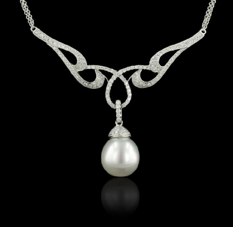 14KT White Gold 13.50mm Pearl & diamond Necklace FJM2654