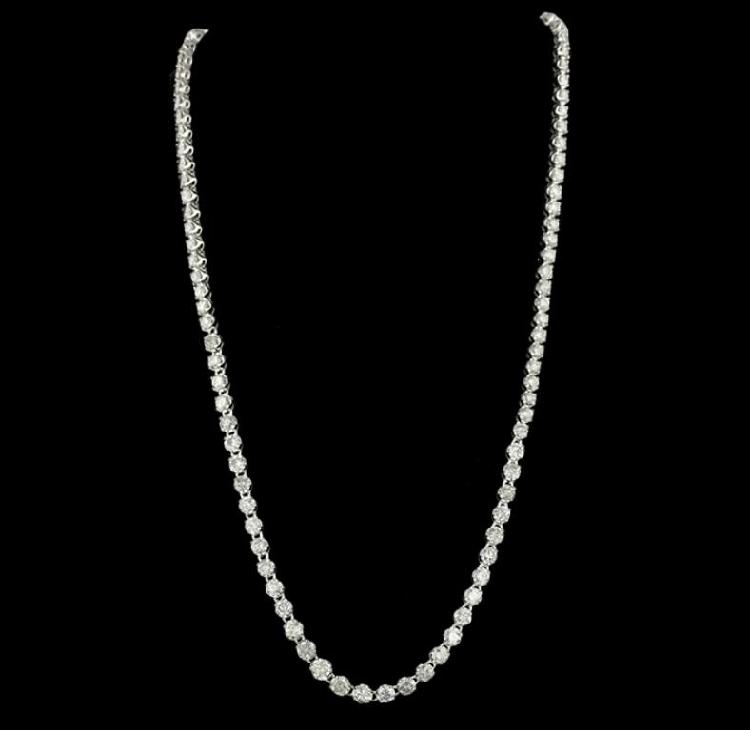 14KT White Gold 17.68ctw Diamond Tennis Necklace RM1108
