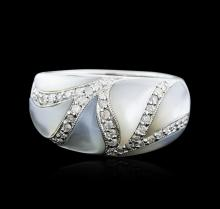 14KT White Gold Mother of Pearl and Diamond Ring