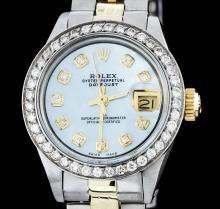 Ladies Rolex Two-Tone 1.00ctw Diamond DateJust Wristwatch