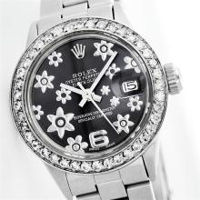 Ladies Rolex Stainless Steel and Diamond DateJust Wristwatch