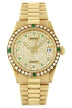 Ladies Rolex President 18KT Gold Diamond and Emerald DateJust Wristwatch