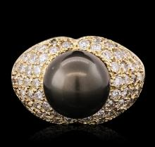 14KT Yellow Gold 1.70ctw Diamond and Pearl Ring
