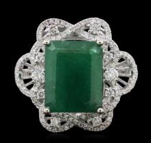 14KT White Gold 7.31ct Emerald and Diamond Ring