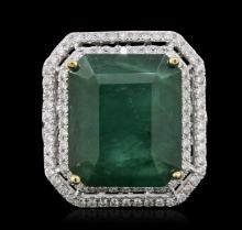 14KT White Gold 14.17ct Emerald and Diamond Ring