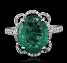 14KT White Gold 4.53ct Emerald and Diamond Ring