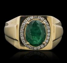 14KT Yellow Gold 2.36ct Emerald and Diamond Ring