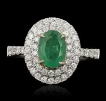 14KT Two Tone Gold 1.20ct Emerald and Diamond Ring
