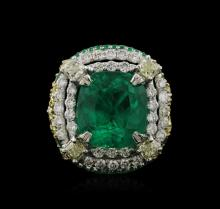 Two-Tone GIA Certified 10.34ctw Emerald and Diamond Ring