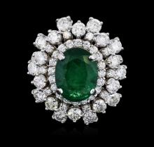 14KT White Gold 3.08ct Emerald and Diamond Ring