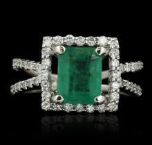18KT White Gold 2.29ct Emerald and Diamond Ring