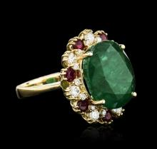 14KT Yellow Gold 7.59ct Emerald, Ruby and Diamond Ring