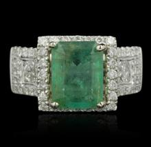 14KT Two-Tone Gold 3.01ct Emerald and Diamond Ring