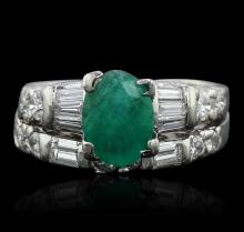 Platinum 1.11ct Emerald and Diamond Ring
