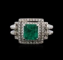 18KT White Gold 1.71ct Emerald and Diamond Ring