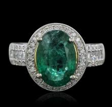 14KT Two-Tone 3.39ct Emerald and Diamond Ring