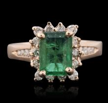 14KT Rose Gold 1.91ct Emerald and Diamond Ring