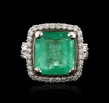 18KT White Gold 9.14ct Emerald and Diamond Ring