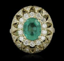 14KT Yellow Gold 2.28ct Emerald and Diamond Ring