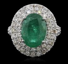 14KT White Gold 3.95ct Emerald and Diamond Ring
