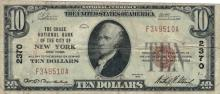 1929 $10 Dollar Chase National Bank of New York National Currency