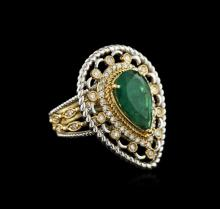 14KT Two-Tone Gold 3.05 ctw Emerald and Diamond Ring