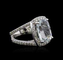 14KT White Gold 7.07 ctw Aquamarine and Diamond Ring