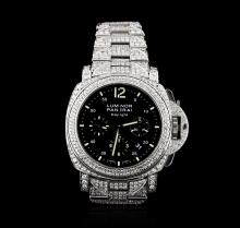 Panerai Stainless Steel 14.00 ctw Diamond Luminor Daylight Watch