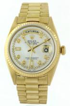 Rolex President 18KT Gold Diamond DayDate Men's Watch