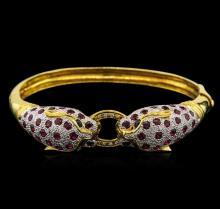 5.60 ctw Ruby, Sapphire and Diamond Bracelet - 18KT Yellow Gold