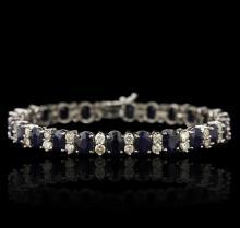 14KT White Gold 18.96 ctw Sapphire and Diamond Bracelet