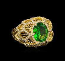 3.67 ctw Tsavorite and Diamond Ring - 14KT Yellow Gold