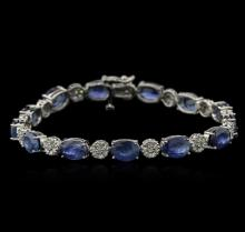 20.41 ctw Blue Sapphire and Diamond Bracelet - 14KT White Gold