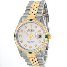 Rolex 14KT Two-Tone Emerald And Diamond DateJust Men's Watch