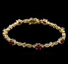 3.72 ctw Ruby and Diamond Bracelet - 14KT Yellow Gold