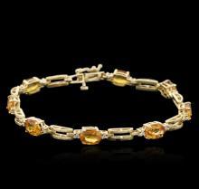 14KT Yellow Gold 6.56 ctw Yellow Sapphire and Diamond Bracelet