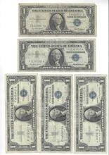 1957 $1 Silver Certificate Currency Lot of 5