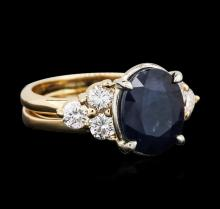 14KT Yellow Gold 4.06 ctw Sapphire and Diamond Ring