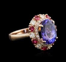 4.27 ctw Tanzanite, Ruby and Diamond Ring - 14KT Rose Gold