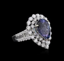 18KT White Gold 3.67 ctw Tanzanite and Diamond Ring