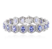 14KT White Gold 12.60 ctw Tanzanite and Diamond Bracelet