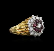 18KT Yellow Gold 1.26ctw Ruby and Diamond Ring