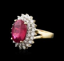 14KT Yellow Gold 5.43ct Ruby and Diamond Ring