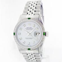 Rolex Stainless Steel 1.00ctw Diamond and Emerald DateJust Men's Watch