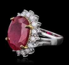 14KT White Gold 13.74ct Ruby and Diamond Ring
