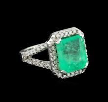 GIA Cert 8.36ct Emerald and Diamond Ring - 14KT White Gold