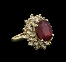 14KT Yellow Gold 6.54ct Ruby and Diamond Ring
