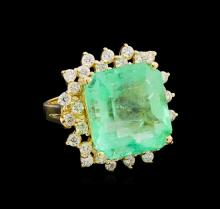 GIA Cert 14.44ct Emerald and Diamond Ring - 14KT Yellow Gold