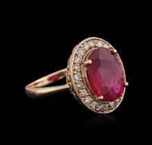 14KT Rose Gold 5.01ct Ruby and Diamond Ring