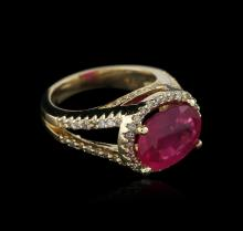14KT Yellow Gold 4.86ct Ruby and Diamond Ring
